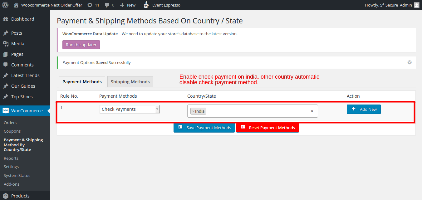 Payment & Shipping Method Based On Country / State - 4