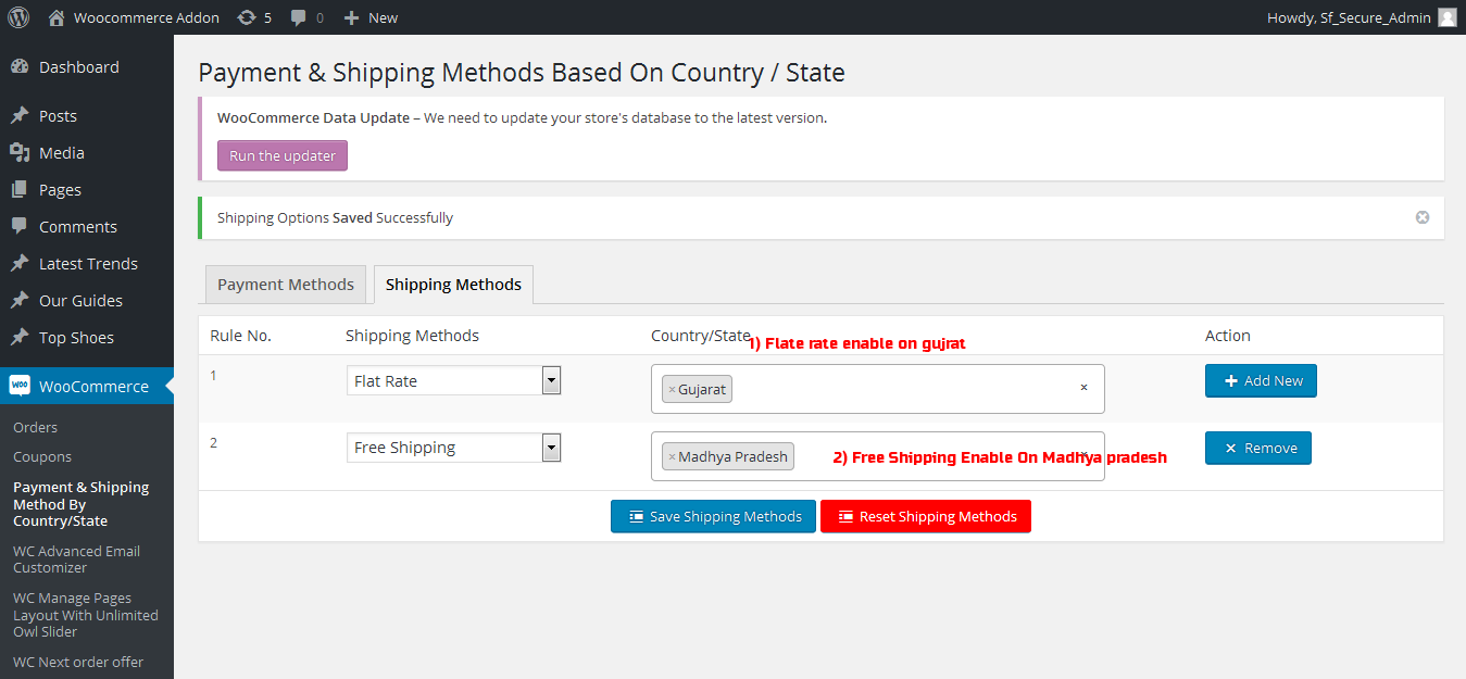 Payment & Shipping Method Based On Country / State - 1